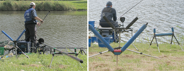 Both Alan Scotthorne and Italy's Jacopo Falsini use a third roller, placed at an angle, for use when fishing a short line.