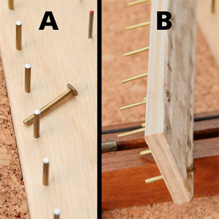 Unlike many other hook boxes, all our boxes have pin heads which, when pushed through the wooden mounting strip, become seated in rear grooved channels. These are impossible to pull out from the top, unless you destroy the box itself!