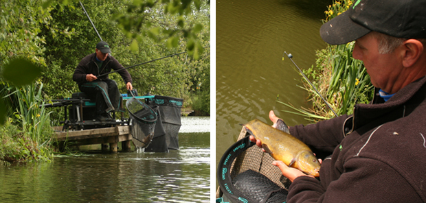 A small carp is netted followed by a 2lb tench.